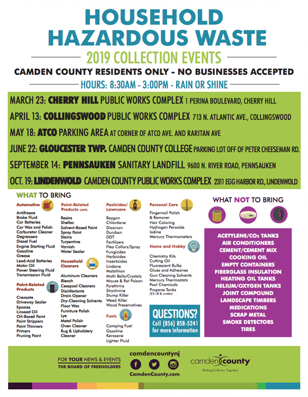 2019 Camden County Hazardous Waste Collection Events